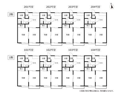 賃貸アパート ハミングバード和気 間取り図(全戸)