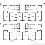 賃貸アパート 第1コーポ中山 間取り図(全戸)